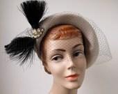 Vintage 1950s Fur Felt Hat Merrimac Savoy Cream Black Feather Veil 1940s