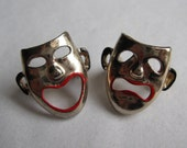 Vintage 1950s Novelty Scatter Pins - Comedy Tragedy Brooch - Theater Fashions