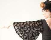 Vintage 1960s Little Black Dress Butterfly Sleeves LBD Cut Velevet Mad Men Fashions