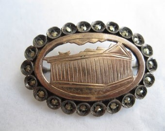 Victorian Pantheon Brooch - Marcasite Sterling Silver Pin - Vermeil 1890s Antique
