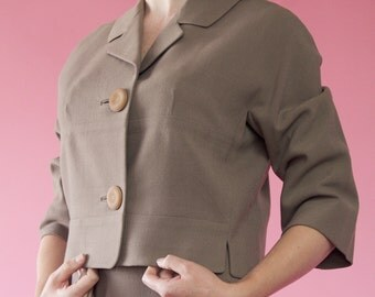Vintage 1950s Forstmann Wool Suit Beige Nude Spring Fashions 1960s