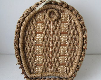 Antique Sewing Basket - Hand Woven Horseshoe - Silk Lining Storage Solutions