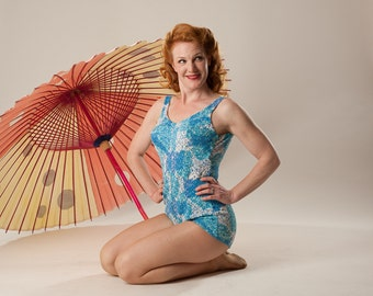 Vintage 1960s Blue Swimsuit - Rose Marie Reid Pin Up - Watercolor Summer Fashions