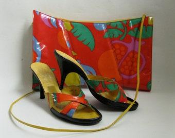 Vintage Charles Jourdan Shoes - Handbag Clutch Purse - Summer Fashions