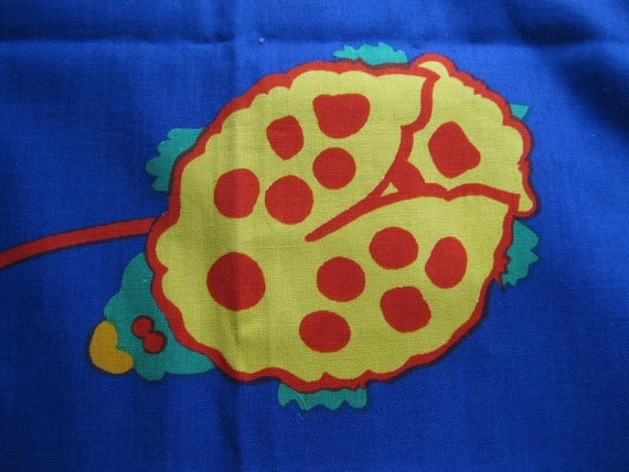 Vintage 1960s Ladybug Cotton Fabric - Blue Yellow Red 2 Yards 44 In Wide Bolt - Sewing Supplies