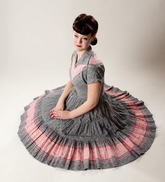 Vintage 1950s Cotton Squaw Dress Floral Two Piece Square Dancing Set Rockabilly Fashions
