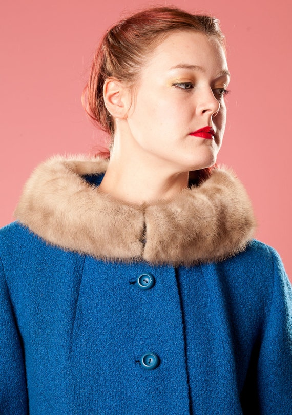 Vintage 1960s Mink Collar Coat Blue Boucle Wool Silver Winter Fashions