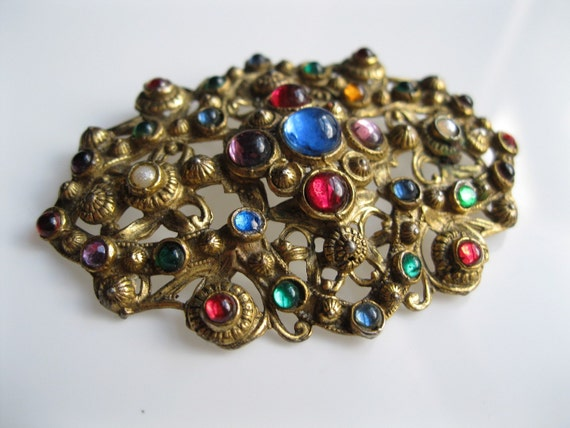 Vintage 1930s Brooch - Filigree Cabochon Pin - Egyptian Revival Multicolored