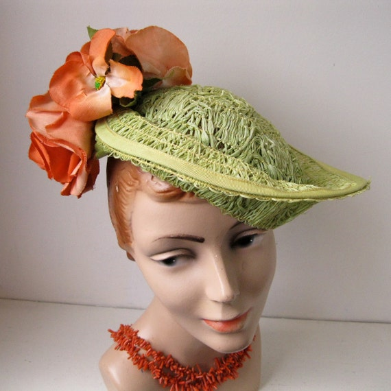 Vintage 1930s Green Straw Hat Tilt Topper Orange Green 1940s Perch Spring Fashions