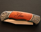 Rosewood Decorative Grip Hunting Knife - Laser Engraved - Great Quality