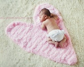 Heart Shaped Blanket Mat- Newborn Baby Photo Prop- Unisex Boy or Girl Photo Prop- Heart Rug - TheWhimsicalStudio