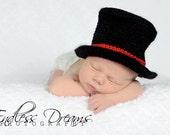 Baby Top Hat- Crochet Black Baby Top Hat - Baby Boy Top Hat- Photography Prop- Infant Top Hat