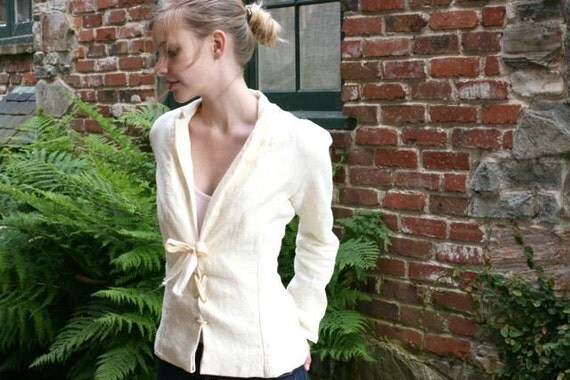 Lace Up Linen Jacket (Custom Fit)