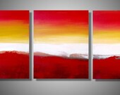 "LARGE WALL ART triptych 3 panel wall contemporary art ""Colour Slats"" 48 x 20 "" canvas wall original painting abstract canvas pop wall kunst"