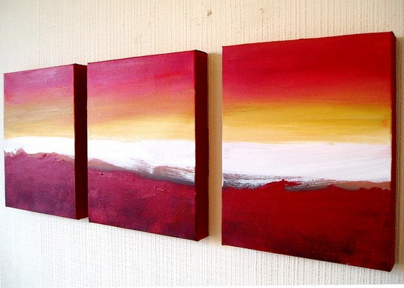 Triptych art 3 panel wall art colour slats 69x30 for 3 panel painting