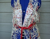 Netted/lace vest.Colorful yarn,Lace patches,red belt.Small size.Custom made