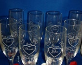 Engraved Wedding Toasting Glasses--Set of (8) -- Champagne Flutes -- Personalized