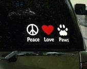 Vinyl Decal -- Peace--Love--Paw Print--  4 x 10  (Line Style) -- Premium Grade Vinyl