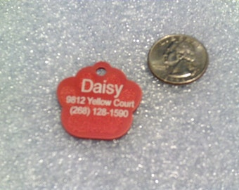 Laser Engraved Pet ID Tag / Large Paw shape -- 2-Sided(Made in the USA)