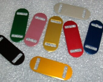 SMALL Size -- Laser Engraved Pet ID Tag -- Slider Style -- (Made in the USA)