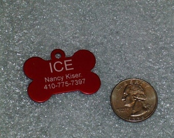 Laser Engraved Pet ID Tag - Medium - Bone shape -- 2-Sided (Made in the USA)