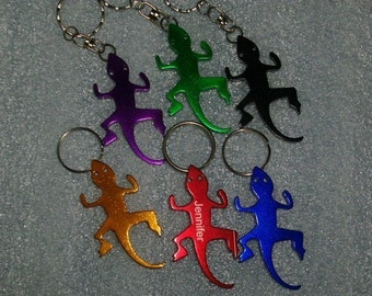 Lizard Shaped Key Chain with Bottle Opener -- Laser Engraved -- Personalized