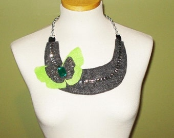 Sign of Hope Bib Necklace with sequins and beads