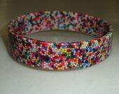 Rainbow CANDY SPRINKLES Bangle Bracelet Rainbow Resin Cute, Unique, Rockabilly