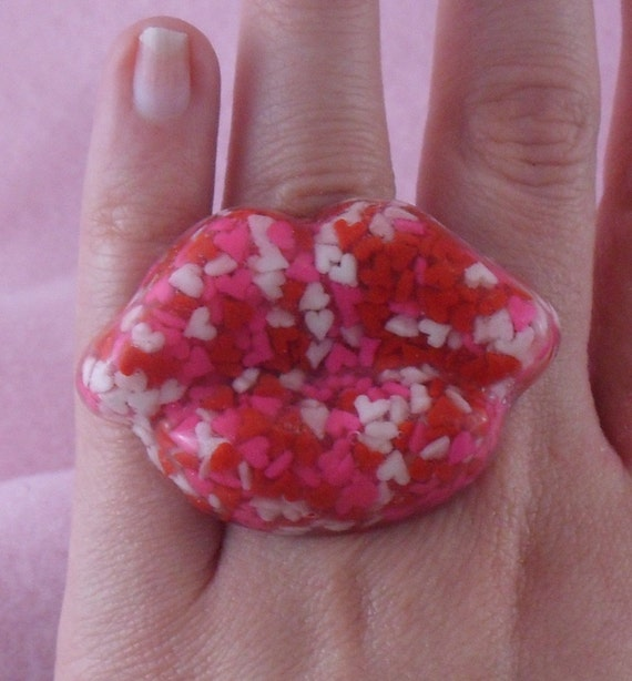 LIPS Candy Sprinkles Hearts RING Resin Large Cute Rockabilly Valentines Day Oversized, Chunky, SWAK
