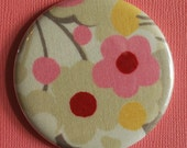 Buy 1 Get 1 Free Pink and Gray Floral Fabric Pocket Mirror