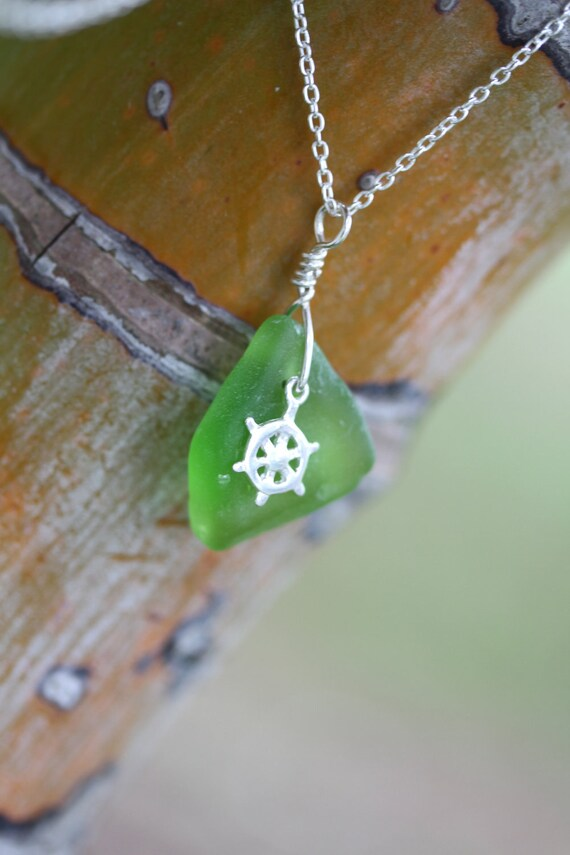 Bright Green Hawaiian Beach Glass Pendant with Nautical Helm Charm