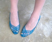 Vintage Electric Blue Jordache Pumps Peep Toe Leather Woven Strap Stiletto Heels Size 9