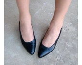 Shoes Vintage Dark Blue Leather Socialites High Heels Size 8