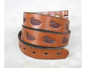 Vintage Unisex 1970s Tooled Leather Mallard Duck Belt Strap