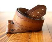 Vintage Russet Brown Unisex Leather Scalloped Edge Bohemian Belt Strap