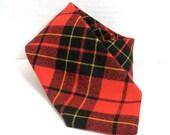 Vintage Red Plaid Tartan Wool Neck Tie