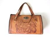 Vintage Handbag 1970s Bohemian Chestnut Brown Embossed Leather Purse