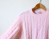 Vintage Bubblegum Pink Pullover Cable Knit Sweater Size S/M