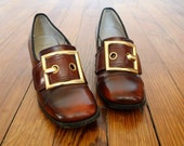 Mod Pilgrim Shoes Vintage 1960s Loafers with Large Gold Buckle Debs by Pierre Size 7 Narrow