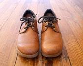 Reserved - Vintage 1970s Caramel Brown Bohemian Leather Platform Oxfords Size 8
