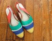 Vintage Rainbow Summer Sling Back Flats 1980s Color Block Sandals Size 7.5