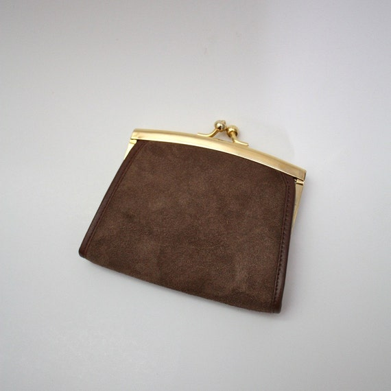 Vintage Leather Coin Purse Brown Suede Change Holder With
