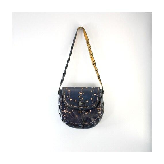 Saddle Bag Hand Tooled Leather Bohemian 1970s Purse Dark Blue