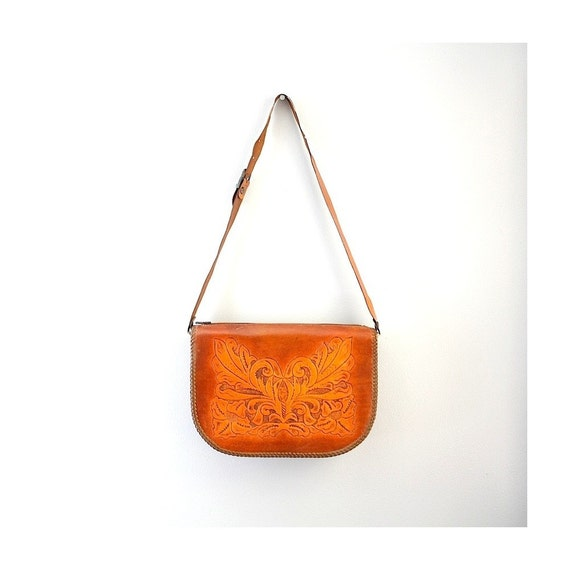 Saddlebag Vintage Tawny Leather Handbag with Single Strap