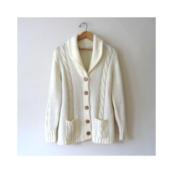 Vintage Cardigan Unisex Winter White Sweater Size L
