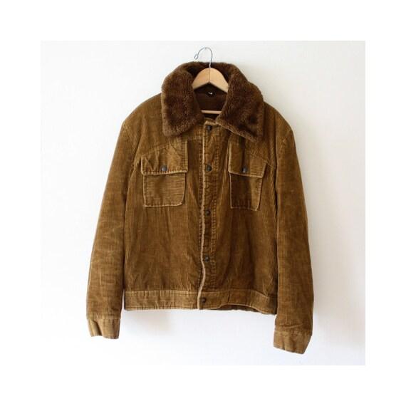 Vintage 1970s Unisex Brown Corduroy Jacket