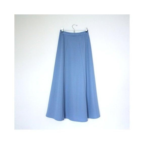 Vintage 1970s Maxi Skirt Cornflower Blue Polyester Flaired Circle Skirt Size Medium