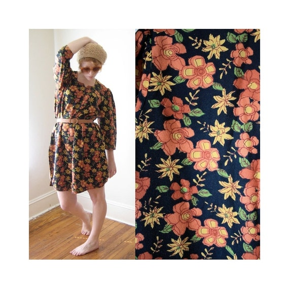 Bohemian Autumnal Dress Vintage 1970s Shirt Dress Size Medium