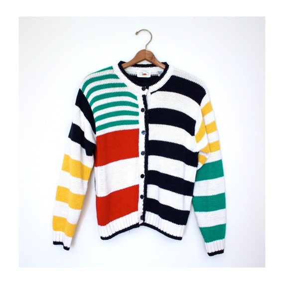 Reserved - Cardigan Rainbow 1980s Colorful Stripe Sweater Vintage Button Up Top Size Small