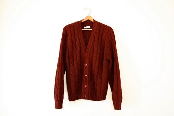 Reserved - Vintage Cardigan Burgundy 1960s Unisex Winter Sweater Size L